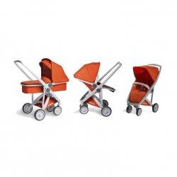 GreenTom Dětský kočárek UPP 3 v 1, šedý rám 1 ks, oranžový