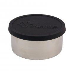 Made Sustained Nerezový kulatý box na jídlo se silikonovým víkem, velký 450 ml, černý