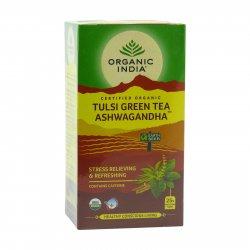 Organic India Čaj Tulsi Green Tea Ashwaganda, porcovaný, bio 50 g, (25 ks)