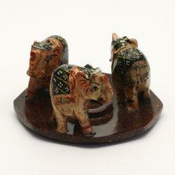 Stojánek kamenný na vonné tyčinky, 3 sloni 1 ks