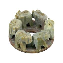 Stojánek kamenný na vonné tyčinky, sloni v kruhu 1 ks