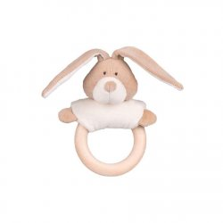 Wolly organic Chrastítko s dřevěným kousátkem Bunny 1 ks