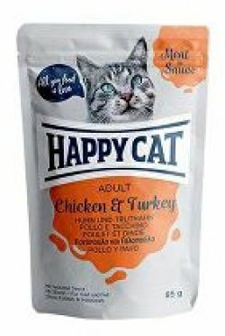 Happy Cat kapsa Meat in Sauce Adult Kuře a krůta 85g