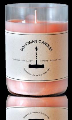 Aromka Svíčka ze sojového vosku v lahvi od vína - Rosé (290 g)
