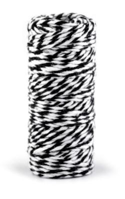 Bavlněný provázek - černý - pro minimalistické dárkové balení