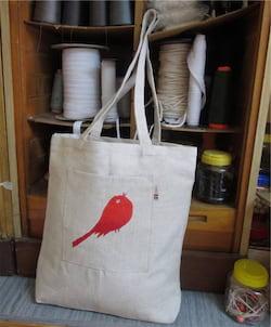 Český západ Nákupní taška s červeným ptáčkem - z přírodního lnu a bavlny