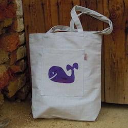 Český západ Nákupní taška s fialovou velrybou - z přírodního lnu a bavlny