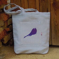 Český západ Nákupní taška s fialovým ptáčkem - z přírodního lnu a bavlny