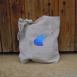 Český západ Nákupní taška s modrou myškou - z přírodního lnu a bavlny