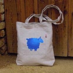 Český západ Nákupní taška s modrou ovečkou - z přírodního lnu a bavlny