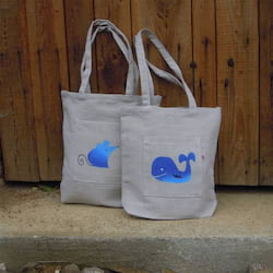 Český západ Nákupní taška s modrou velrybou - z přírodního lnu a bavlny