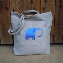 Český západ Nákupní taška s modrým slonem - z přírodního lnu a bavlny