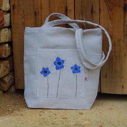 Český západ Nákupní taška s modrými kytičkami - z přírodního lnu a bavlny