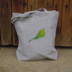 Český západ Nákupní taška se zeleným ptáčkem - z přírodního lnu a bavlny