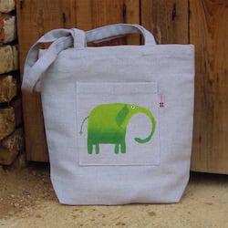 Český západ Nákupní taška se zeleným slonem - z přírodního lnu a bavlny