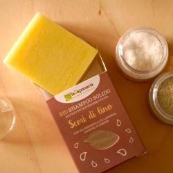 laSaponaria Tuhý šampon se lněným olejem BIO (100 g) - v papírovém obalu