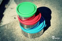 Made Sustained Sada kulatých svačinových boxů (3 ks) - zelená