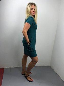 Meera Design Božské šaty Afrodité - petrolejové - s krátkým rukávem