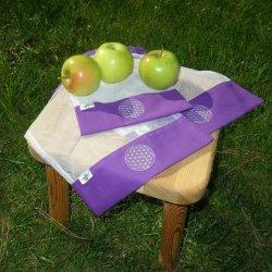 Nákupní pytlík na potraviny (S) - bílá na fialové - s květem života