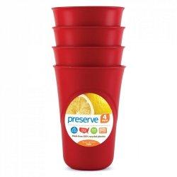 Preserve Sada pohárků (4 ks) - červená - ze 100% recyklovaného plastu