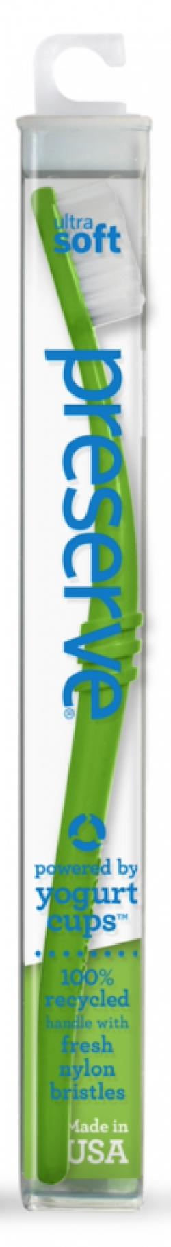 Preserve Zubní kartáček (ultra soft) - zelený - z recyklovaných kelímků od jogurtů