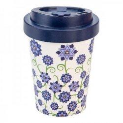Woodway cup (300 ml) -  Fialové květy - z bambusu, kukuřice a pryskyřice