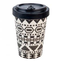 Woodway cup (400 ml) -  Aztécký černo-bílý - z bambusu, kukuřice a pryskyřice