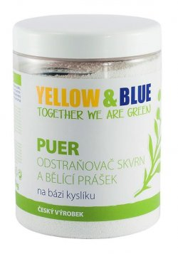 Yellow&Blue Puer - bělící prášek pro praní (dóza 1 kg) - AKCE