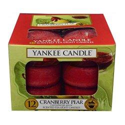 Yankee Candle Aromatické čajové svíčky Brusinka a hruška (Cranberry Pear) 12 x 9,8 g